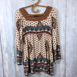 BLU PEPPER Boho Long Sleeve Tunic Dress M